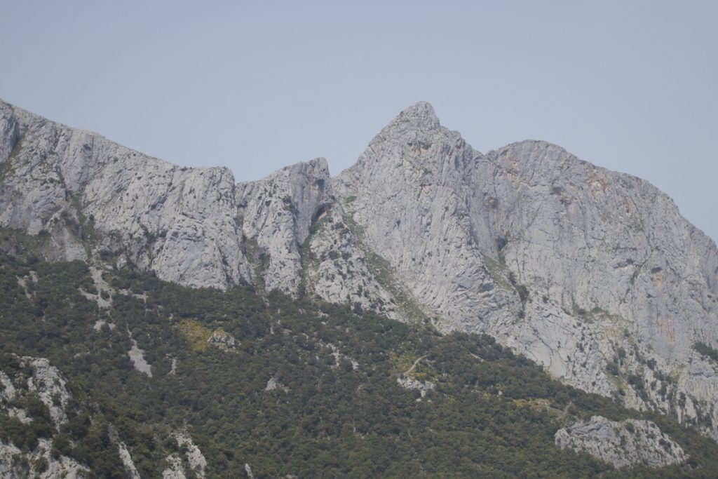 Looking across as the classic crag of Cerro Agero, with routes up to 12 pitches in length this really is an amziong sport/trad climbing venue in the Hermioda Gorge, Picos Du Europa.