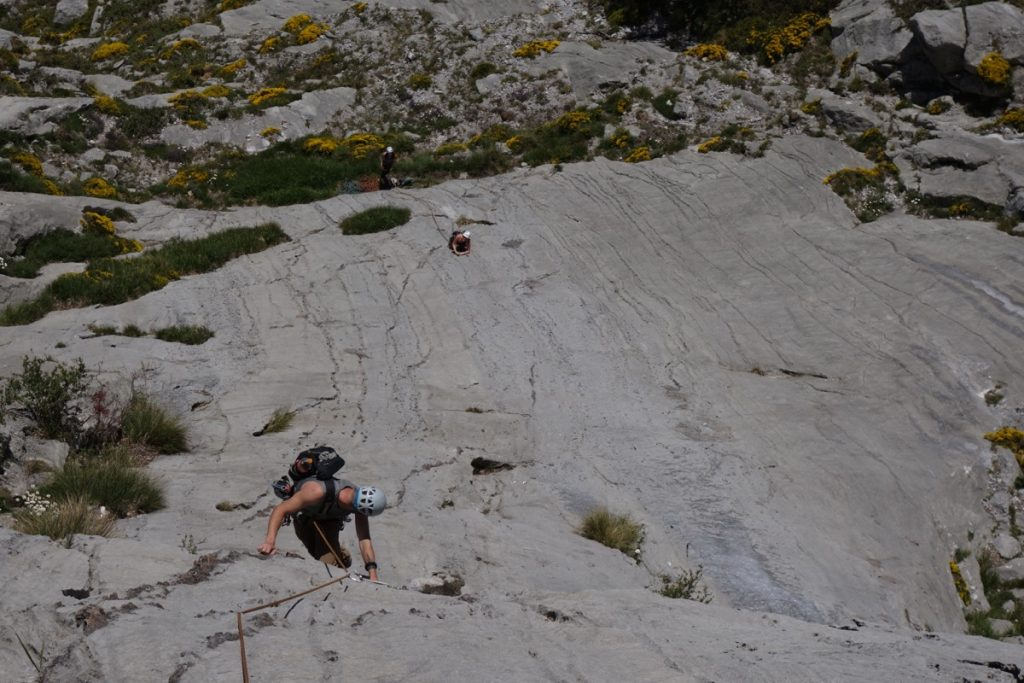 Ian Whorral seconding up a classic mixed sport/trad route on Cerro Agero.