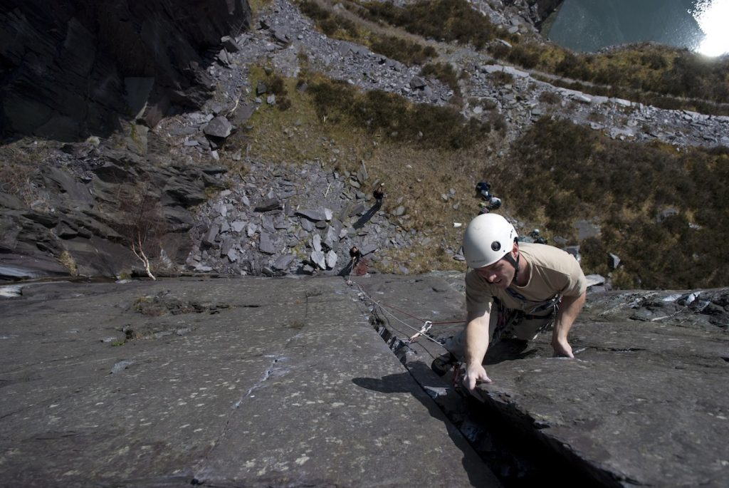 Naill reaches the tricky finale of Bella Lugosi is Dead, Rainbow Slab Area of the Dinorwic Slate Quarries.