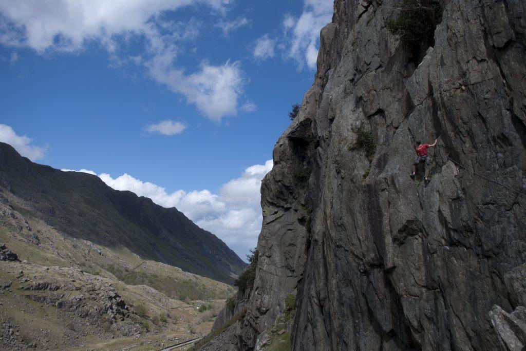 Jack Geldard climbing the classic Brant on CLogwyn Y Grochan.