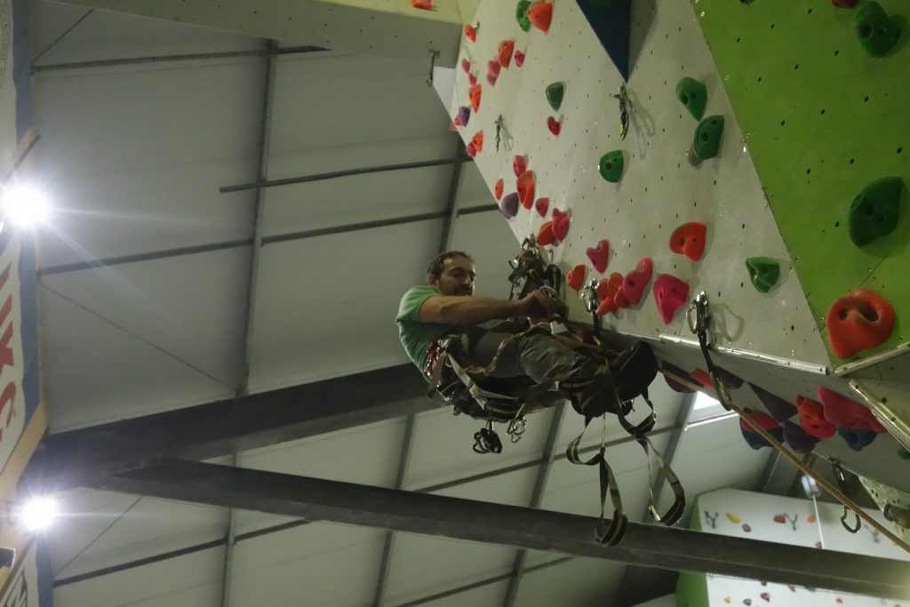 Learning to Aid Climb at the Beacon Climbing Centre.