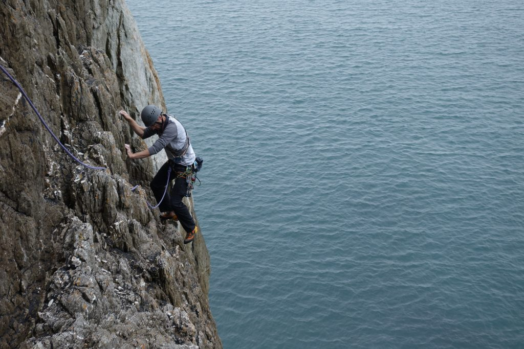 Adam Riches seconding the initial pitch from sea level on a Dream of White Horses