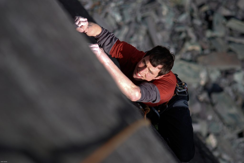 Pete Robins following the top ptich of Released From treatment, E6, Rainbow Slab.
