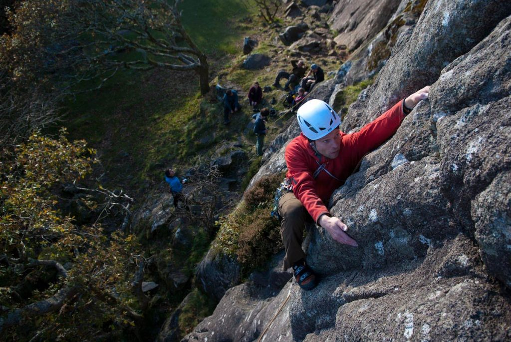 Rense learning the art of Trad Climbing at the Upper Tier in Tremadog.