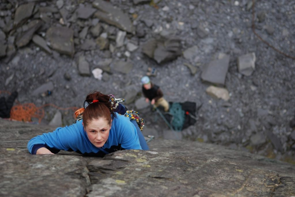 Rebecca Williams, climbing the classic Seamstress, VS.