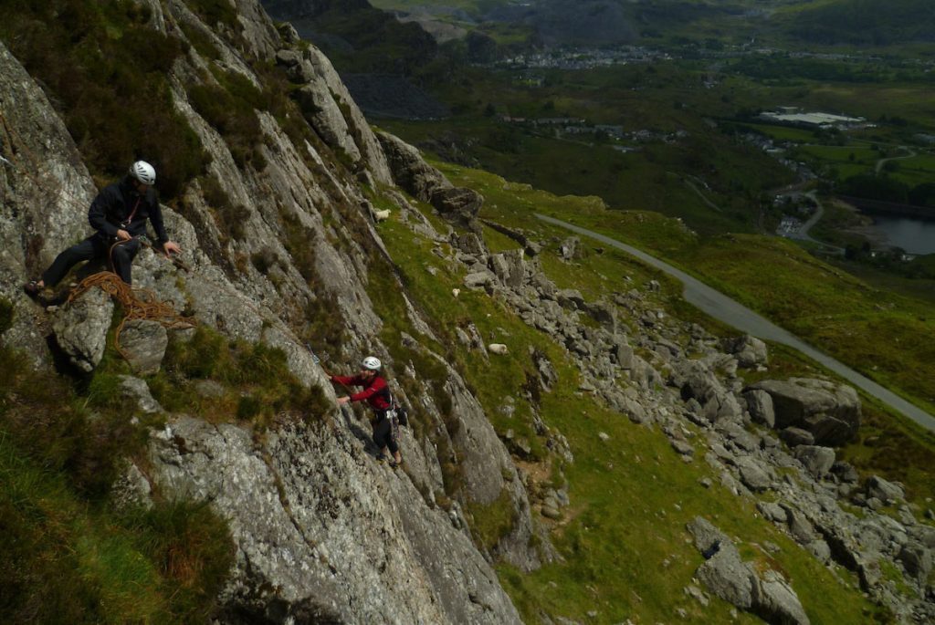Climbers on Slack another classic Severe on Clogwyn Yr Oen, Moelwyns.