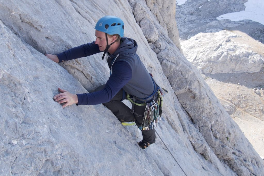 Lead climb coaching on the South Face of Naranga Del Bulnes on the classic hard severe that climbs this face.