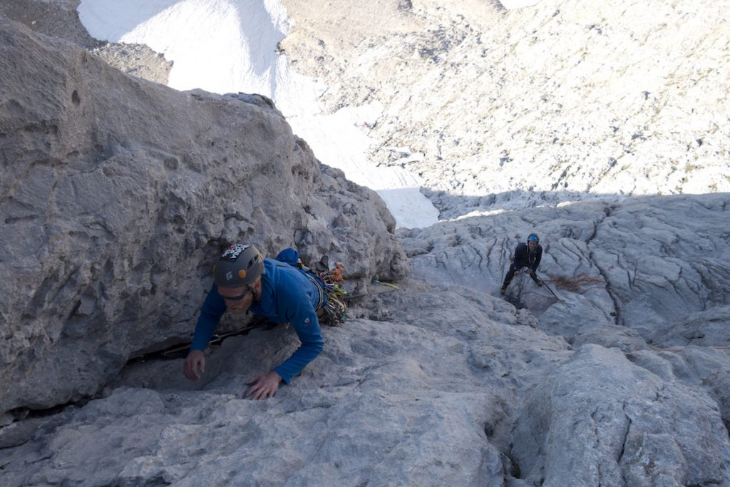 Jesse King climbing the third ptich of the South Face of the Naranga Dek Bulnes whilst having some lead climb coaching.