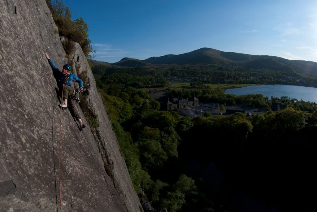 Dave Evans on Turkey Chant in Vivian Quarry on the classic East Face of Vivian Link up.