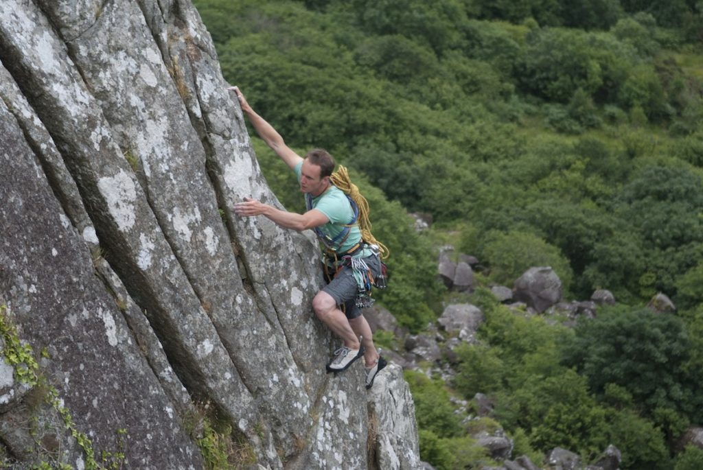 Simon Lake Soloing Bramble Buttress, a remote VDiff at Tremadog that is often overlooked as a beginner climb.