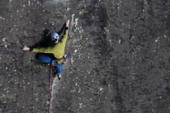 Mike Raine styling his way through the crux of Comes The Dervish. One of the finest E3's in North Wales and therefore the world!