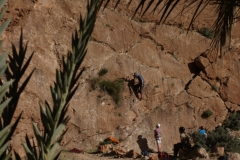 Rock climbing in the Garden at Todra Gorge.