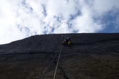 Simon Lake enjoying an afternoon on Blackchurch Rock, climbing the classic Sacre Coeur, E2 5c.