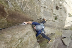 Adam Riches on the steep and brutal final pitch of Super Direct on Dinas Mot in the Llanberis Pass