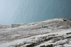 An unknown climber on Dream of White Horses - high start from the notch.