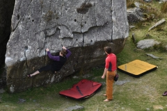 The amazing pump traverse at the RAC boulders lives up to its name.