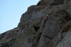 James McHaffie on the first of the 2 pitches of New Climbing on the Tower of Midnight, Cryn Las. This was an E6/7 pitch followed by an E8 pitch.