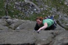 Katie Haston firing up the Link, E1 on Dinas Mot.