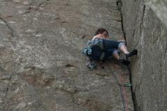 Miranda Grant laybacking her way up Little Spulchre, HVS on Dwys Y Gwynt, above Craig Ddu.