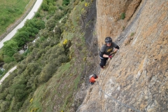 Some friends 'enjoying' a day of with me on the Los Llanos Via Ferrata.