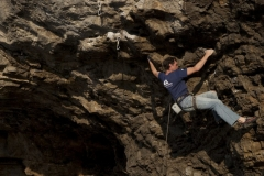 Tim Neill spanned out across the Koo, 7b. The route is much bigger when you put a normal size human on it!