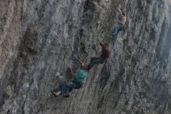 Tim Neill on Boat People, 7c; Blair Fyffe on possibly Never Get out of the Boat, 8a; and Tommy Chammking working The Empire State 8a. All at one of the most impressive hard sports crags in the UK, The Diamond on Little Ormes.
