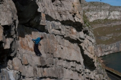 Katie Haston on a classic 6a on the Great Ormes, Mumbo Jumbo. Is no push over and requires a steady head.