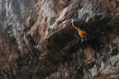 Pete Robin's on the first ascent of Wild Youth 8b(+), which links Wild Understatement into Youthansia, at LPT.
