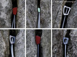 A selection of different wire and nut placements in rock. These for the bedrock of rock climbing protection.