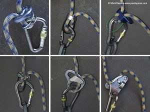 A selection of belay device. Although only taken in 2010 this photo is already dated.