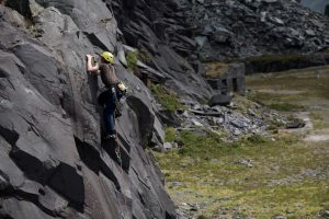 A young Climber Learning the ropes on Hawkeye F5c in the Dinorwic Slate Quarries.