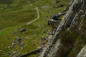 A climber on the classic Chic on Clogwyn Yr Oen in the Moelwyns. A popular VDiff.