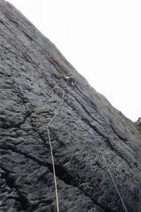 Mark reeves on Fay Lower Sharpnose Point, a mighty E4 in the South West and definitely a route and a crag worth seeking out.