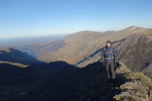 Walking up to the North Ridge of Crib Coch