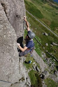 Adam Riches climbs the amazing final arete of Kirkus Direct on CLogwyn Yr Oen in the Moelwyns.