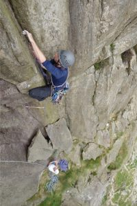 Adam Riches making quick work of the final crux pitch of Super Direct on Donas Mot, this was his third day on a sports climbing to trad climbing course.