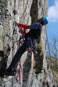 Learning to Aid Climb up a UK trad Route.