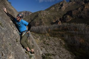 Climbing on Macizo Del Ali in Chiodes one of the finest crags there.