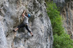 Josh Douglas getting climbing fit on a desperate F5+, which feels more like 6a, in the Hermida, Picos Du Europa.