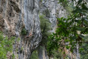 A climber tackles the amazing 7a in the Hermoda Cave, steep and commiting in places the route is spectacular.