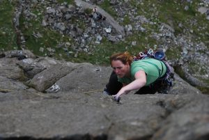 Katie Haston firing up the Link, E1 on Dinas Mot.