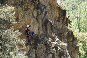 Los Llanos Crag, easy sports climbing.