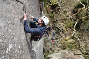 The classic and 'well-worn' first pitch of Oberon. Severe. Tremadog.
