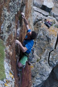Andy Scott on the Mask of the Mask of the Red Death. A stunning E3 at Rhoscolyn.