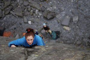 Rebecca Williams, climbing the classic Seamstress, VS.