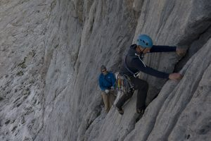 Josh Douglas on pitch two of The South Face of Naranga Del Bulnes, Hard Severe.