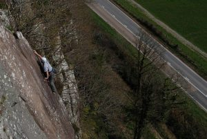 Llion Morris climbing Yogi, one of the finest VS's at Tremadog and popular as a result. A great route to be coached into the VS grade on one of our lead climb coaching courses on.
