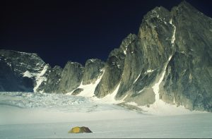 Our remote basecamp in teh Kitchatna Spires, no one for miles except us and our new route Groundhog Day AK, E3/A1 in the background.