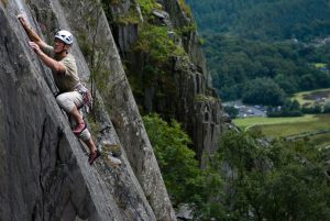 Mike Hammil on the second ascent of One STep Beyond, E3, Vivian Quarry