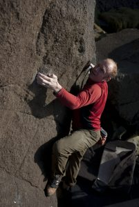 Dave Evans tackles the classic Higg Scar Left Hand at Porth Ysgo, one of the finest bouldering areas in teh UK.